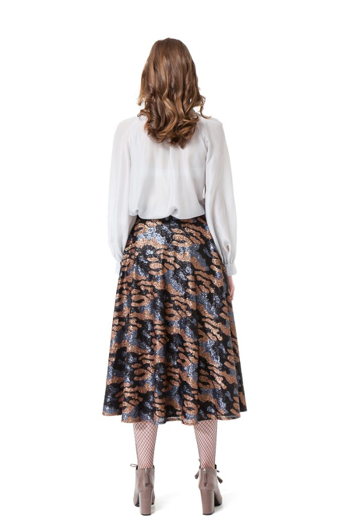 ERIN sequin midi skirt in grey and bronze camouflage by DIANA ARNO