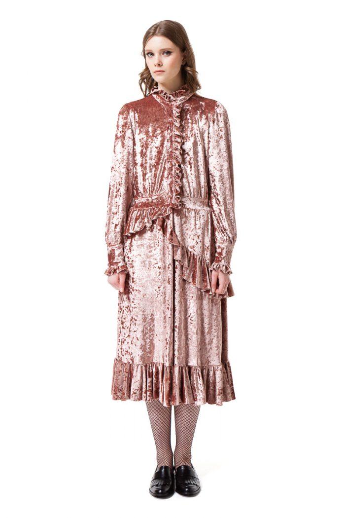EDEN long sleeve velvet dress in midi length by DIANA ARNO.