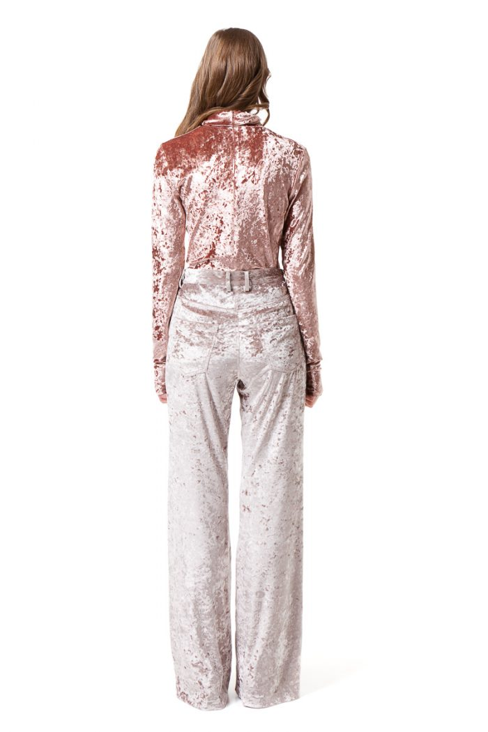 MONA velvet trousers in light grey with high waist and topstitched details by DIANA ARNO.