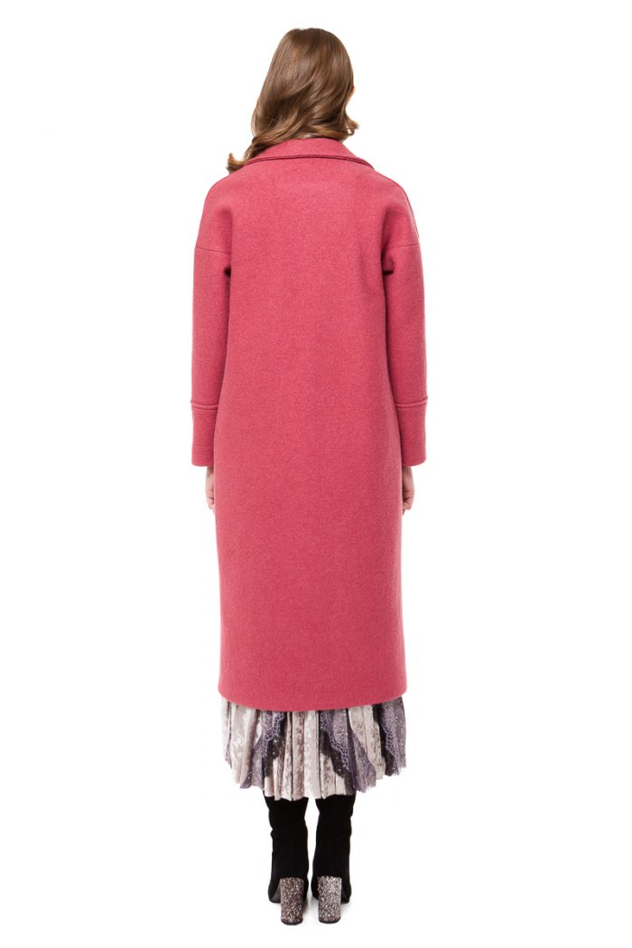 ROSA long wool coat with dropped shoulders by DIANA ARNO.