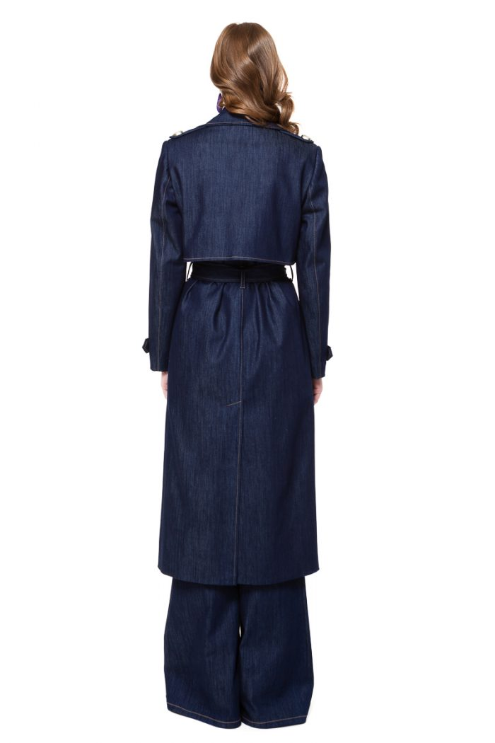ARIA denim coat in dark blue with pockets, back split and silver buttons by DIANA ARNO.