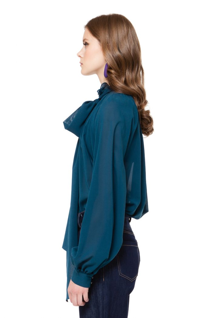 LUISA bow tie blouse with puff sleeves by DIANA ARNO.