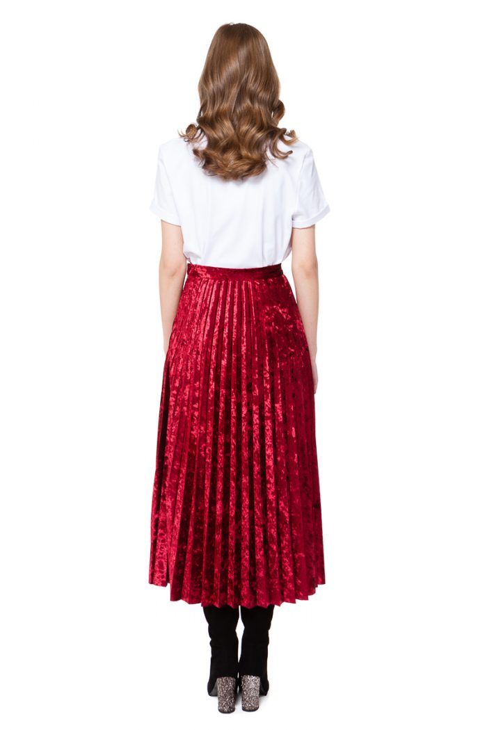 LOLA velvet pleated skirt in midi length by DIANA ARNO.