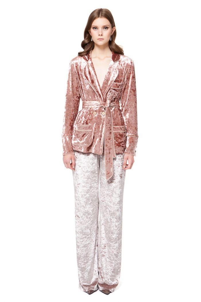 BRENNA velvet pyjama style blazer in rose pink with pockets and a belt by DIANA ARNO.