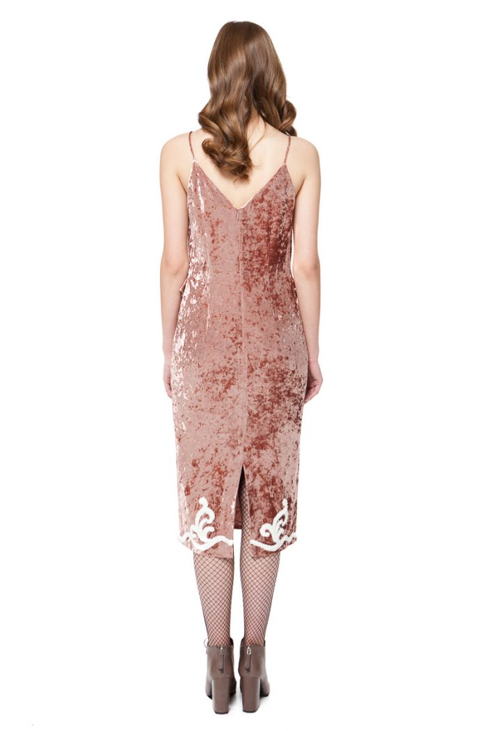 LARA bodycon velvet dress in warm rose pink from crushed stretch-velvet by DIANA ARNO.