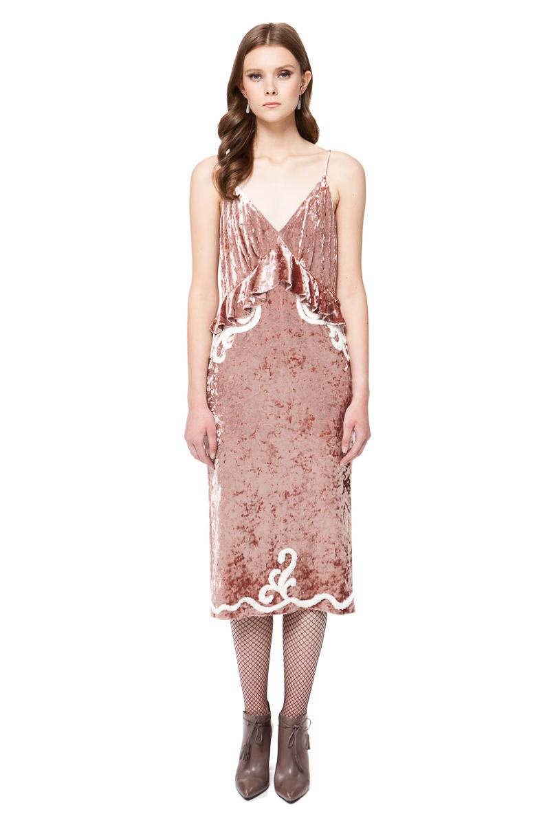 LARA bodycon velvet dress in warm rose pink from crushed stretch-velvet by DIANA ARNO.