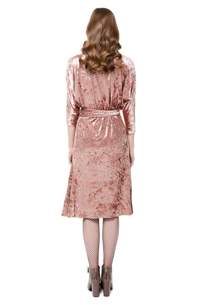 VALERIE velvet midi dress with drop shoulders and flared hem by DIANA ARNO.