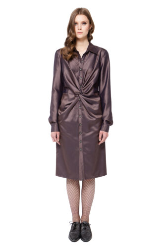 CORA shirt dress in brown check with buttons and draped waist by DIANA ARNO.