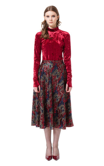 ERIN sequin midi skirt in red and blue camouflage by DIANA ARNO.