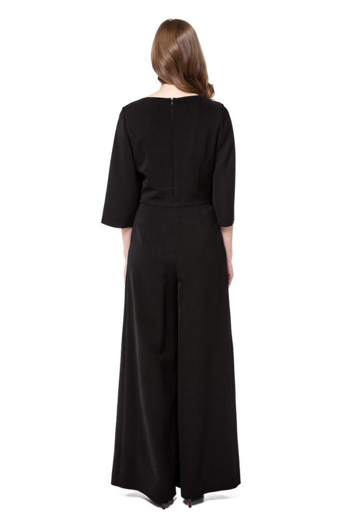 LIA jumpsuit in black with wrap effect top and lace appliqué by DIANA ARNO.