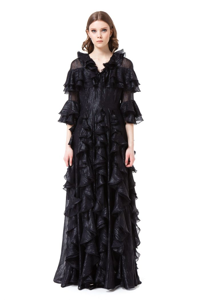LIZBETH black maxi dress with elegantly flared sleeves by DIANA ARNO.
