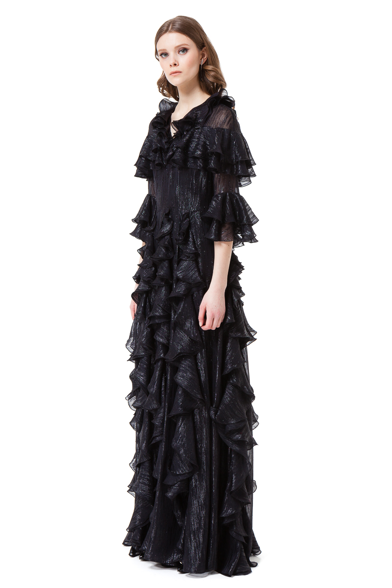 LIZBETH black maxi dress with elegantly flared sleeves by DIANA ARNO.