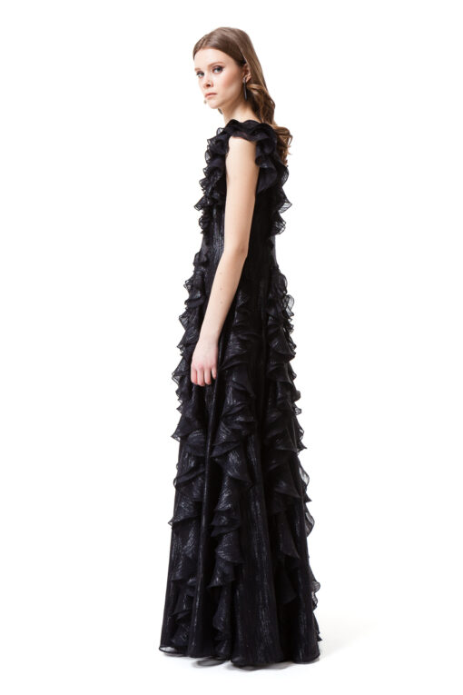 ELISABETH floor-skimming black gown with no sleeves by DIANA ARNO.