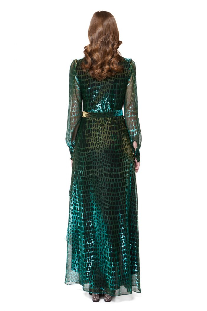 REINA maxi dress with flirty flounces in green chameleon by DIANA ARNO.