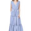 CATHERINE oversized maxi dress in blue stripe.