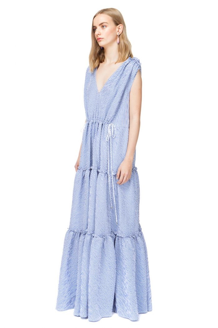CATHERINE oversized maxi dress in blue stripe.