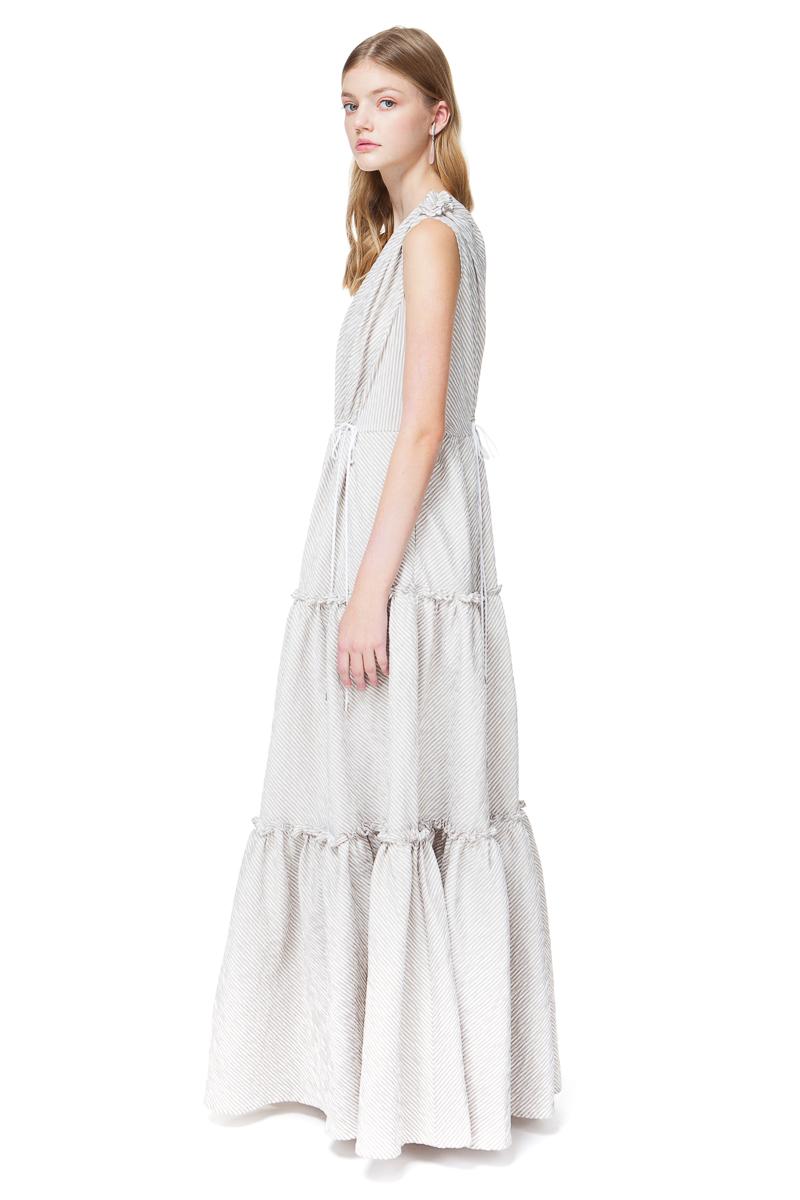 CATHERINE oversized maxi dress in dust green stripe.