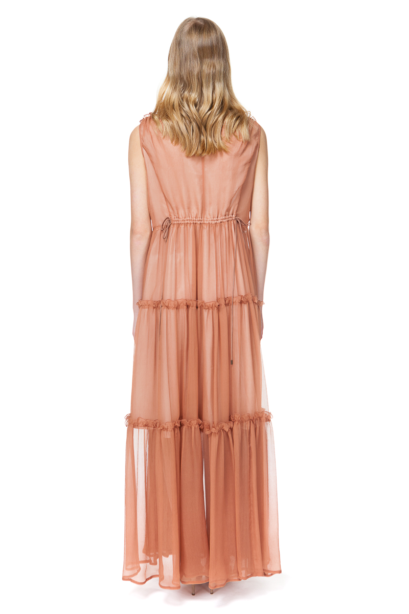 CATHERINE silk maxi dress with decorative flounces in delicious toffee.