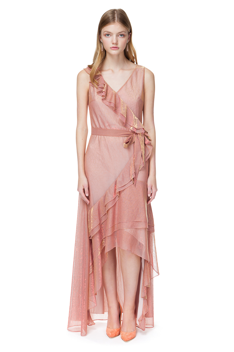 REINA maxi dress with flirty flounces in pink chameleon.