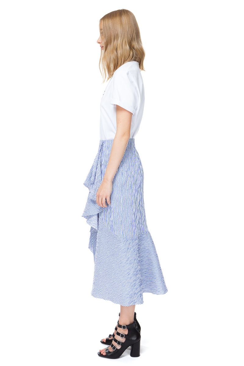 BELLE striped midi skirt in blue with side pockets and a front split.