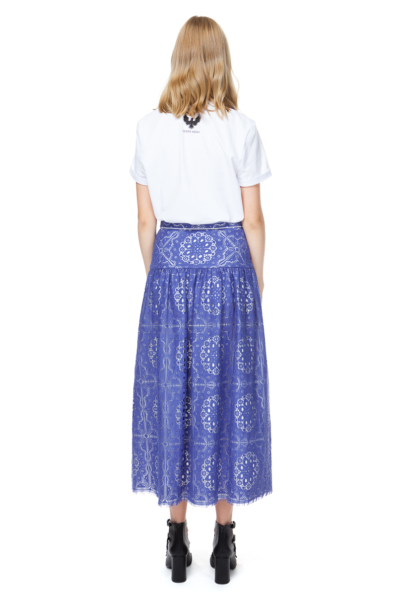 EMMA lace midi skirt in deep-sea blue with contrasting trim anda row of buttons in white