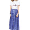 EMMA lace midi skirt in deep-sea blue with contrasting trim and a row of buttons in white