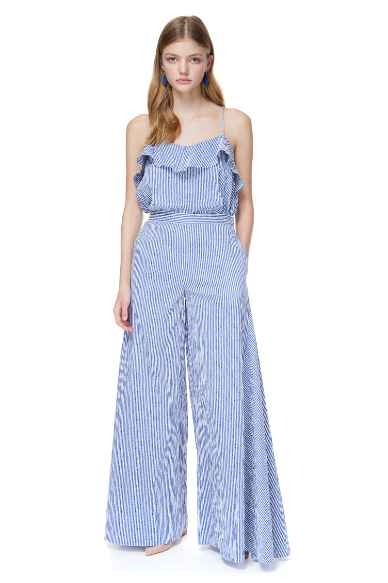 GRACE wide leg trousers in blue stripe from wrinkle-resistant cotton blend fabric.