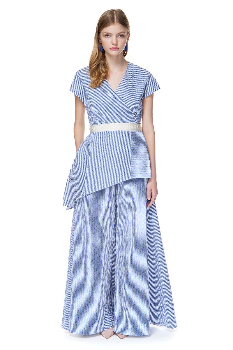 HANNA asymmetric top in blue stripe.