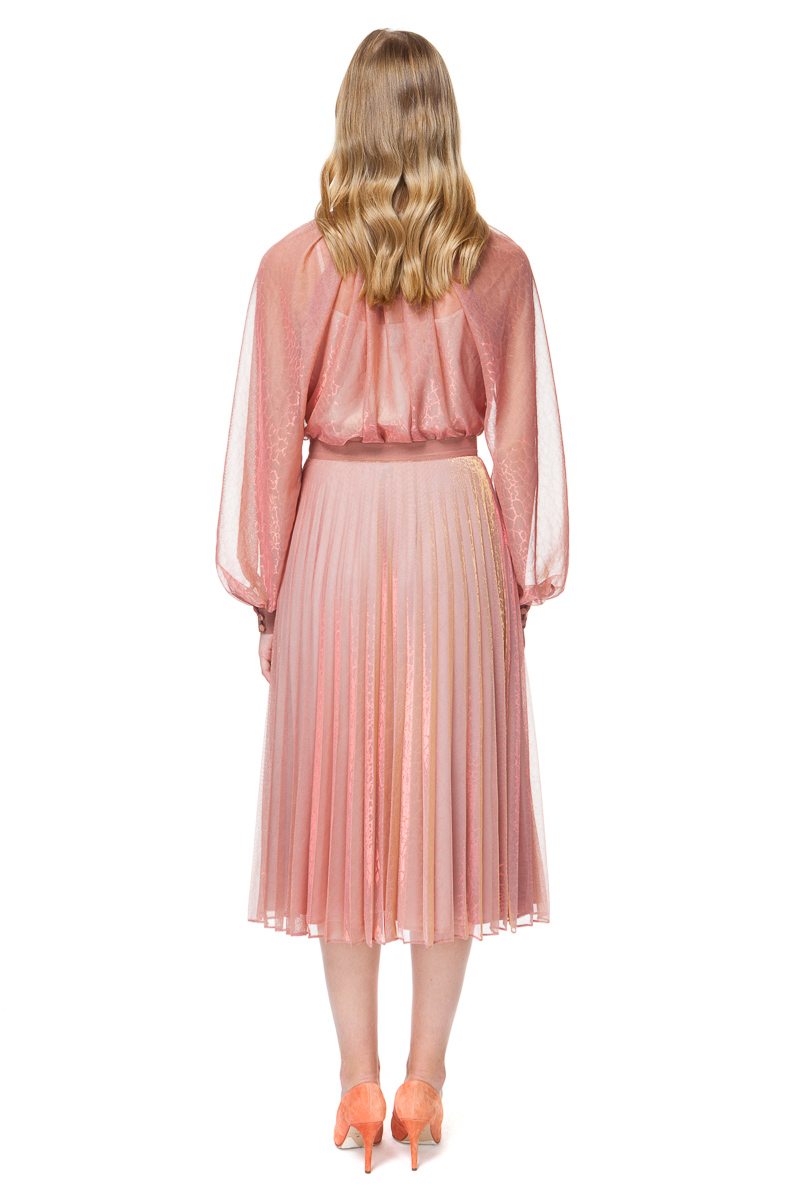 LOLA pleated midi skirt in pink and gold chameleon.