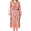 LUISA bow blouse with puff sleeves in sheer pink and gold chameleon.