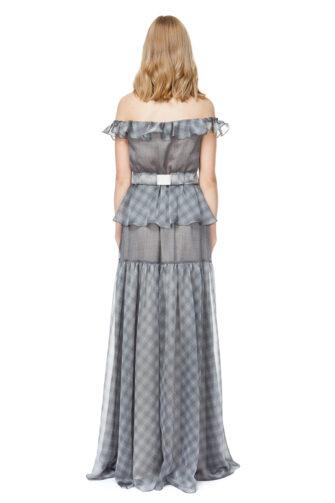 MADELYN off shoulder maxi dress in grey check.