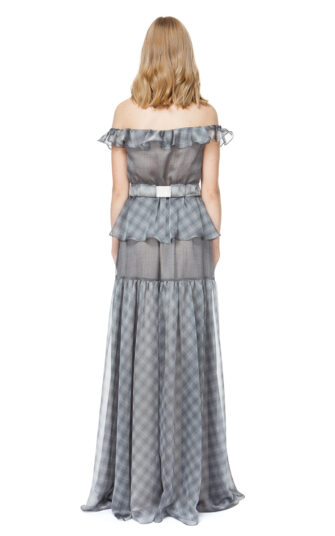 MADELYN off shoulder maxi dress in grey check.
