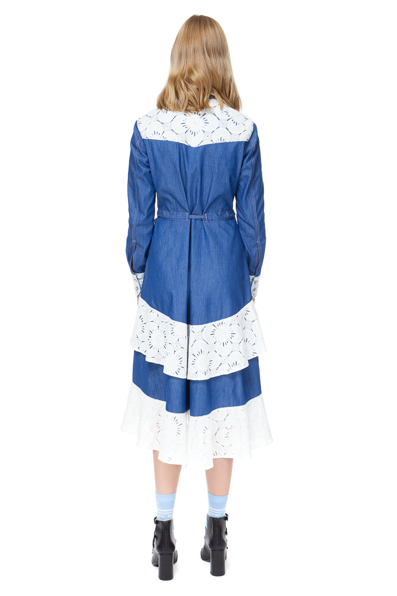 CECELIA denim dress with long sleeves in blue