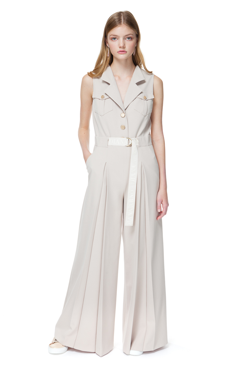 LIANNE wide-leg jumpsuit with a D-ring logo belt.