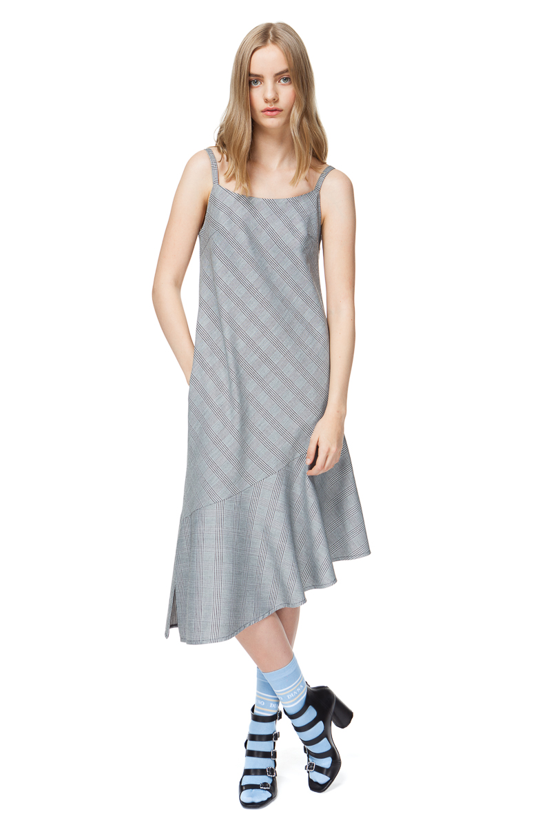 THALIA cami dress with an asymmetric hem in grey check.