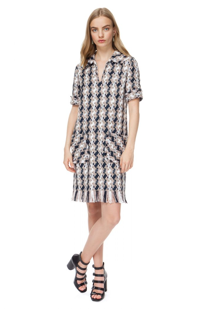 HAILEY raw edge tweed dress with patch pockets and frayed hem.