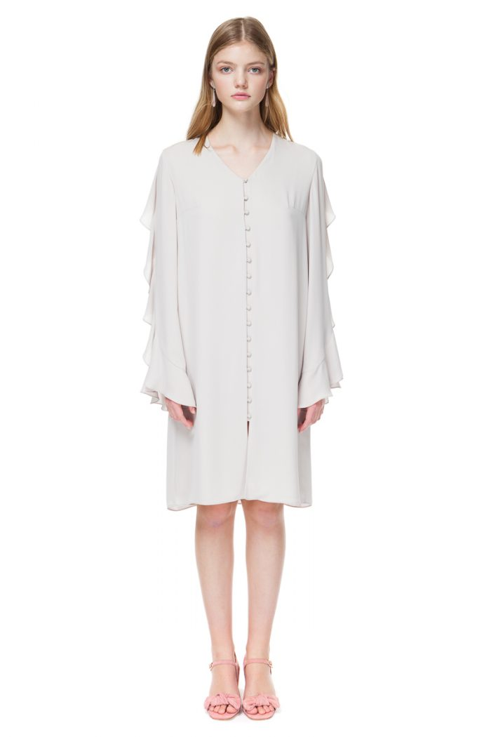 FLO long sleeve midi dress with frills in pleasing ivory nude.