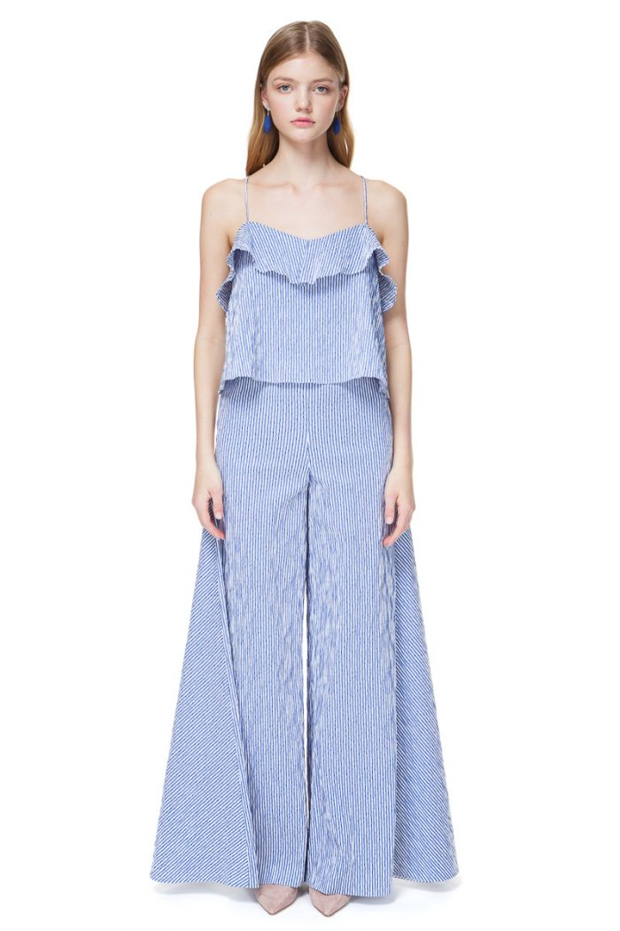 CAROL camisole top with a voluminous ruffle in blue stripe.