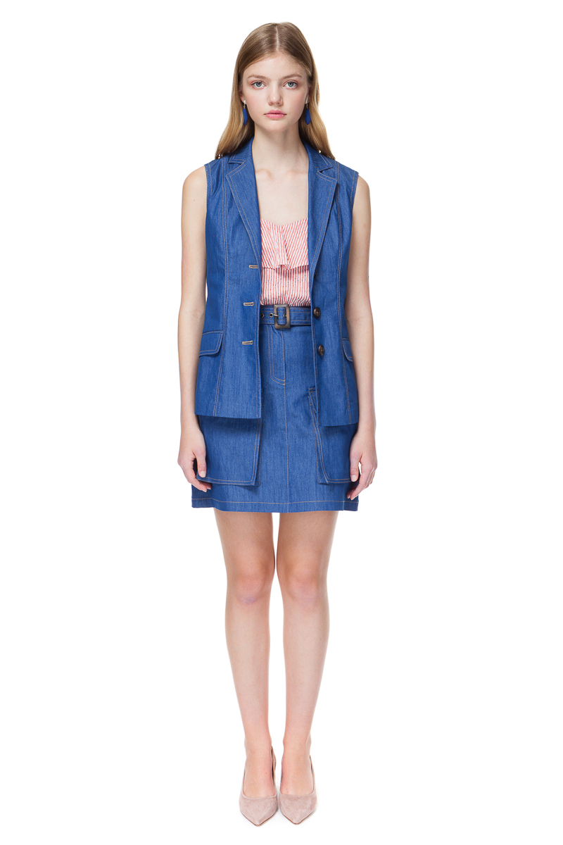 EVELYN denim vest with topstitched details.