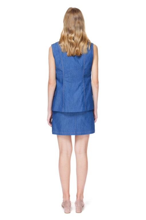EVELYN denim vest with topstitched details.