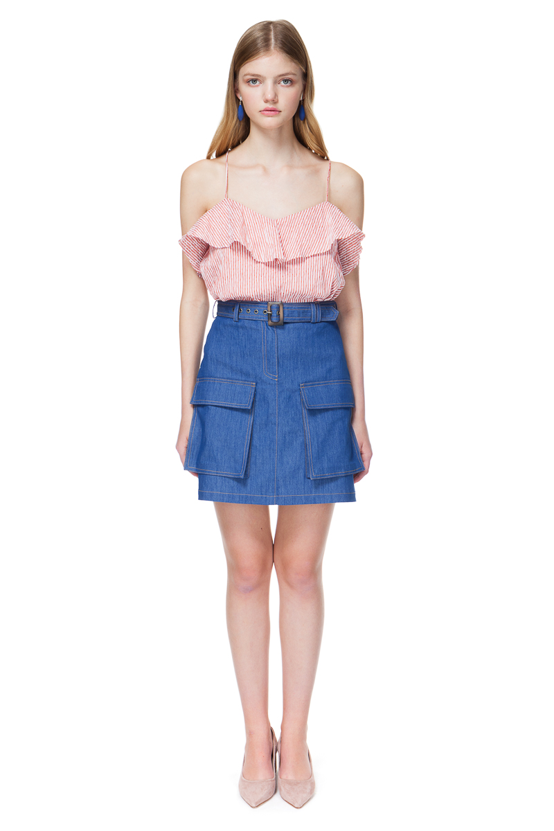 KIRSTEN denim skirt in sea blue