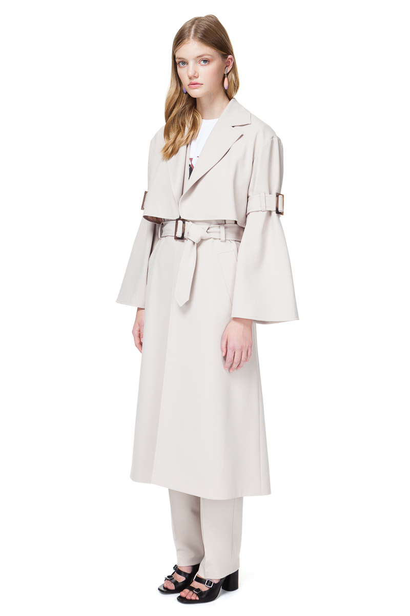 RUBY oversized coat with statement sleeves and buckles.