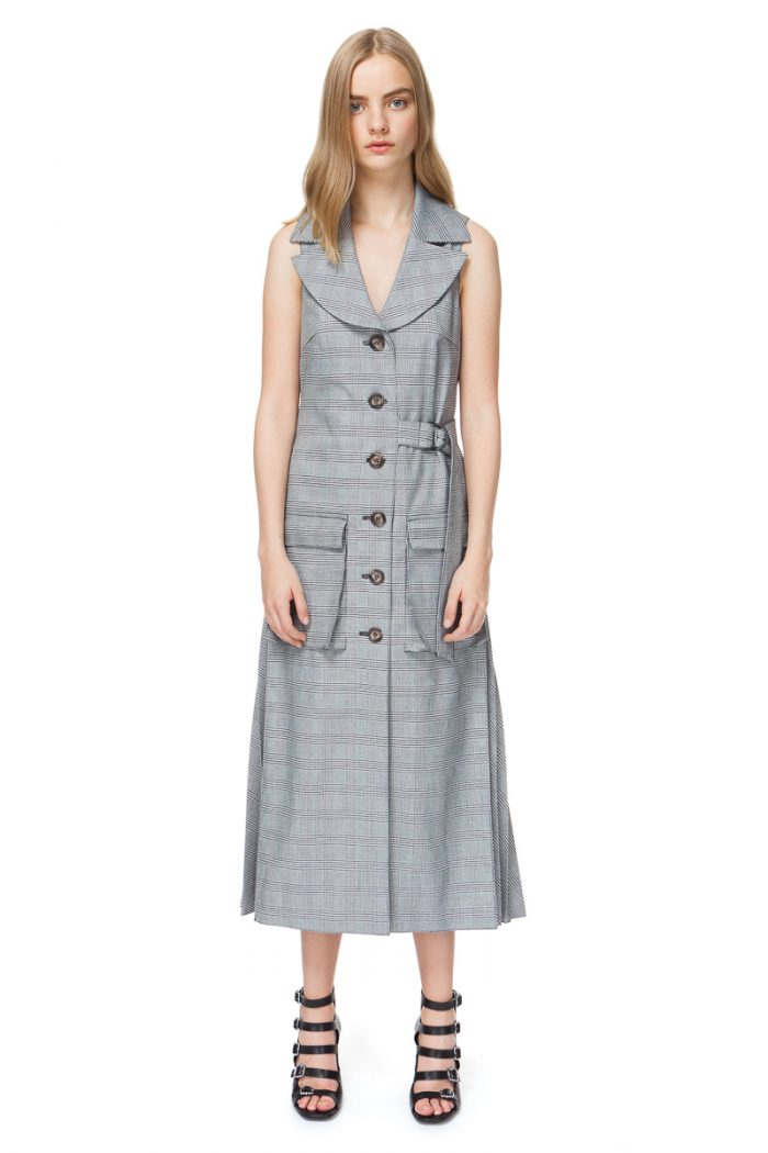 6e1b07924ea56 ARLENE sleeveless coat in grey check with pleated details ...