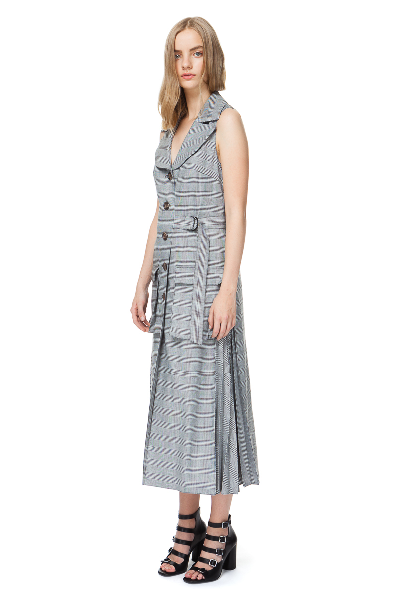 ARLENE sleeveless coat in grey check with pleated details