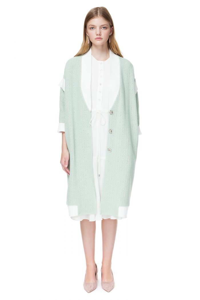 MATILDA oversized cardigan with ribbed trim and details.