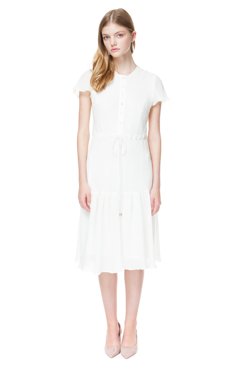ARETHA white midi dress with ruffled hem and flirty bell sleeves.