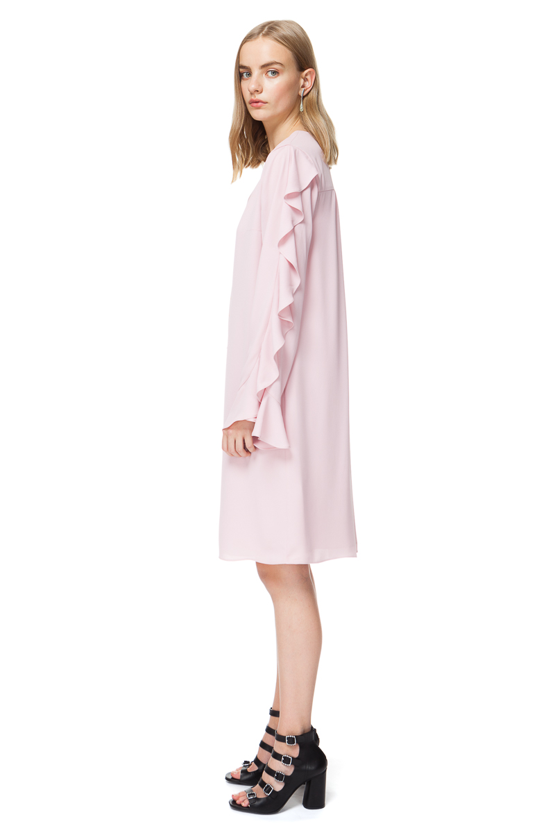 FLO long sleeve midi dress with frills in pleasing blossom pink.
