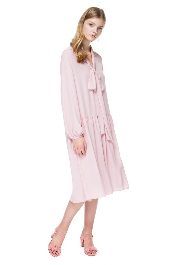 ELLIE tie neck dress with long sleeves in flirty blossom pink.
