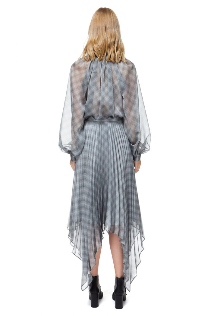 LUISA bow blouse with puff sleeves in sheer grey check.