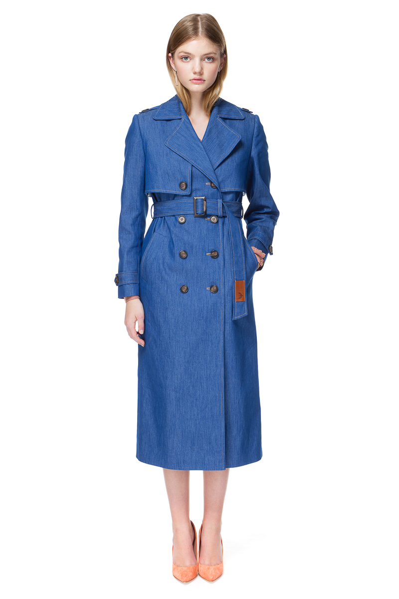 ARIA trench coat in sea-blue denim.